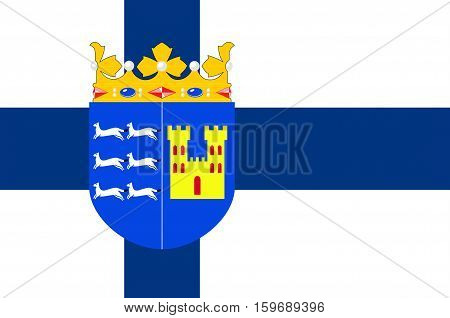 Flag Of Province of Oulu is a province of Finland