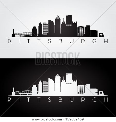 Pittsburgh USA skyline and landmarks silhouette black and white design vector illustration.