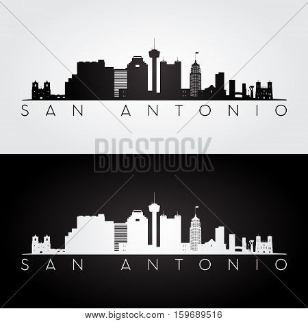 San Antonio USA skyline and landmarks silhouette black and white design vector illustration.