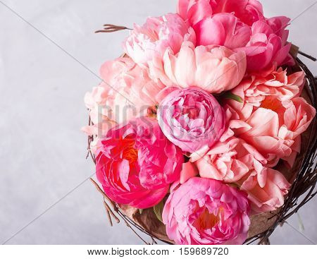 Bouquet of pink peonies. Still life with colorful flowers. Fresh peonies. Place for text. Flower concept. Fresh spring bouquet. Summer Background