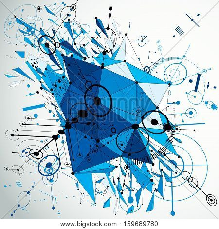 Geometric Bauhaus 3d vector blue background with low poly abstract demolished object created from circles and connected lines. Best for use as advertising poster or banner design.