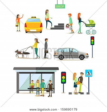 Vector set of street traffic concept design elements in flat style. People crossing street, catching taxi, walking dogs, going shopping. Mother with baby carriage. Bus stop, traffic lights, road sign.
