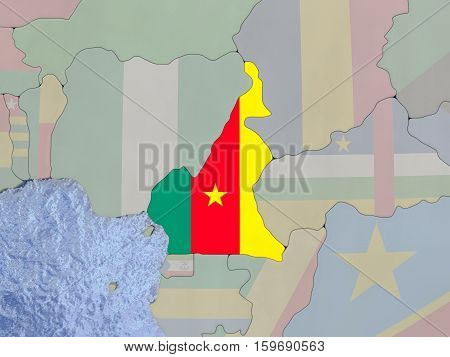 Camerowith Flag On With Flag On Globe
