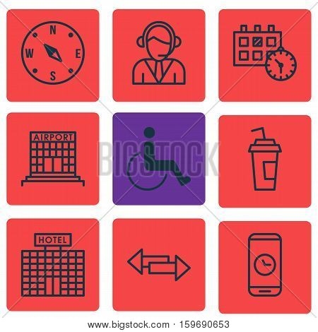 Set Of 9 Traveling Icons. Can Be Used For Web, Mobile, UI And Infographic Design. Includes Elements Such As Disabled, Cup, Hotel And More.