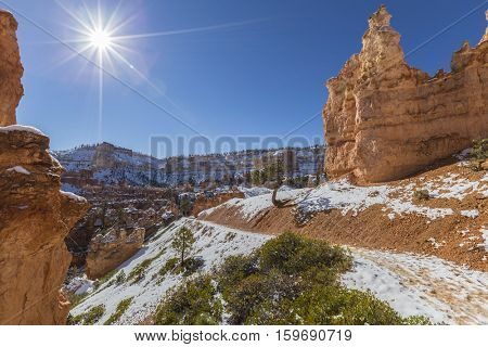Snow covered path at Bryce Canyon National Park in Southern Utah.