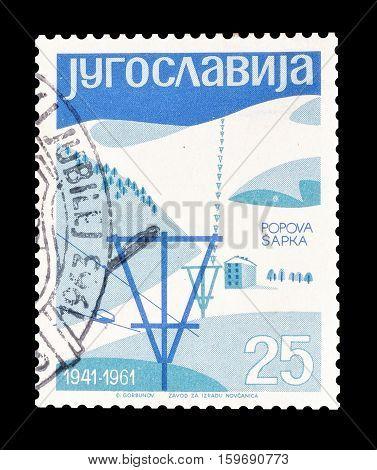 YUGOSLAVIA - CIRCA 1961 : Cancelled postage stamp printed by Yugoslavia, that shows Mountain Popova Sapka.