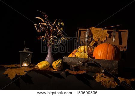 Autumn still life / Still life with pumpkin and lantern.