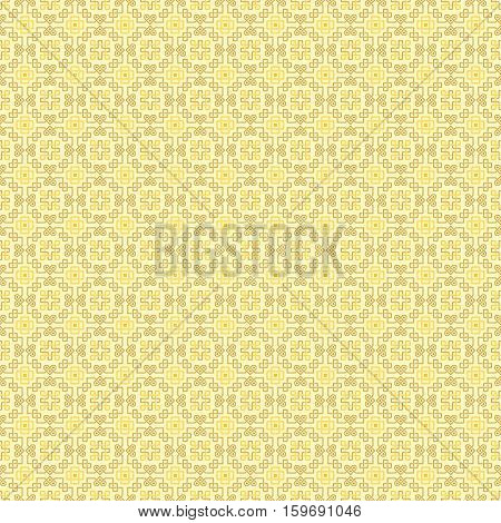 Ornate seamless pattern, interlaced lines. Shades of yellow. The swatch is included in vector file. Arabic style.