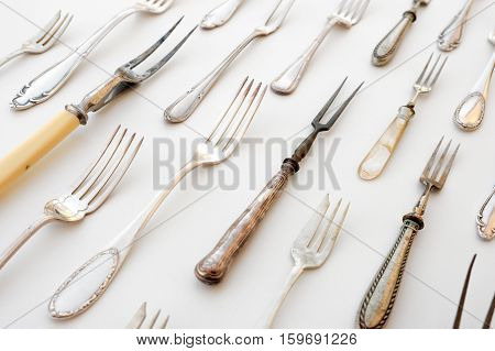 Silver Cutlery Fork - Vintage Flatware Isolated On White Background