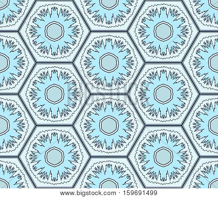 Pale blue snowflakes in hexagons seamless pattern. Winter holidays texture. Website seamless background. Vector
