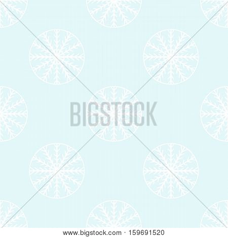 White snowflakes on pale blue background. New Year and winter holidays seamless pattern. Web design seamless background. Vector