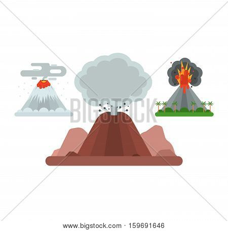 Volcano magma nature blowing up with smoke vector isolated. Crater mountain hot natural eruption earthquake. Erupt ash fire hill landscape outdoor geology exploding ash.