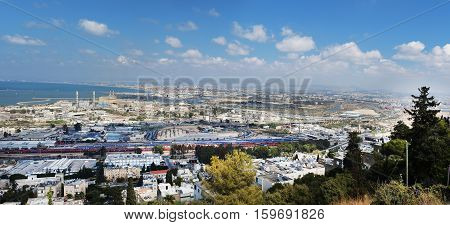 Panoramic view of the Haifa in extra large size. Houses streets and sea port
