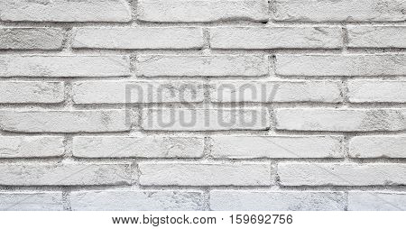 Old Stucco White Brick Wall. Abstract Whitewash Brickwall Background Texture. Vintage Wallpaper Web banner Wide Screen Close up