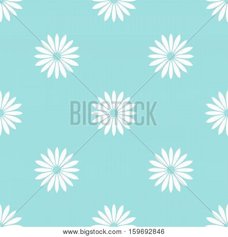 White flowers on pale blue background seamless pattern. Webpage seamless background. Vector