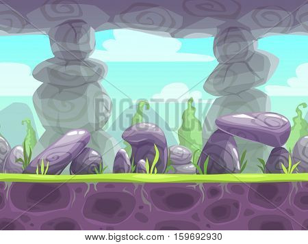 Cartoon fantasy seamless landscape with ground, stones, plants and cloudy sky layers. Layered vector background for parallax effect. Fantastic nature illustration for game location design.