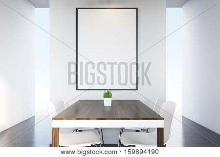 Close Up Of Dark Wood Kitchen Table, Poster