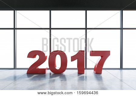 Red Number 2017 In An Empty Room