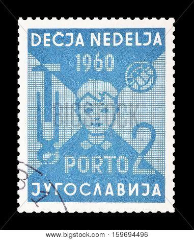 YUGOSLAVIA - CIRCA 1960 : Cancelled postage stamp printed by Yugoslavia, that shows Boy.