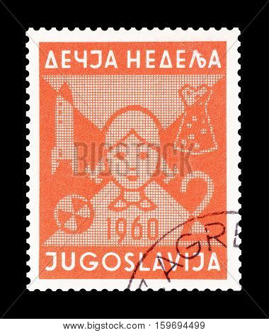 YUGOSLAVIA - CIRCA 1960 : Cancelled postage stamp printed by Yugoslavia, that shows Girl.