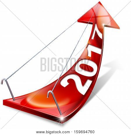 Red arrow with year 2017 tending upwards the concept of economic success