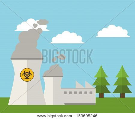 nuclear plant energy power landscape vector illustration eps 10