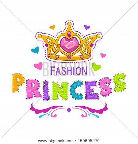 Cute girlish illustration. Vector template for girls t shirt print design. Fashion princess label.