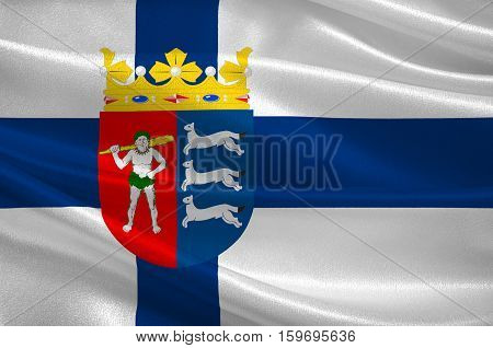 Flag Of Province of Lapland is a province of Finland. 3d illustration