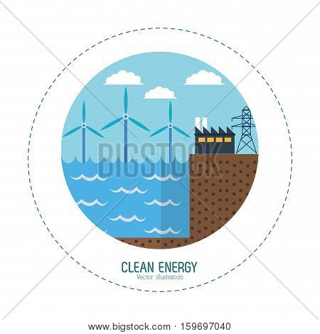 clean energy tidal energy factory vector illustration eps 10