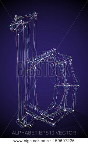Abstract illustration of a Multicolor sketched lowercase letter B with Transparent Shadow. Hand drawn 3D B for your design. EPS 10 vector illustration.