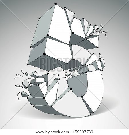Vector Dimensional Wireframe Number 5, Monochrome Demolished Digit With Fragments. 3D Mesh Technolog