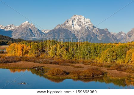 a scenic autumn reflection the Tetons from Oxbow Bend in Teton National Park