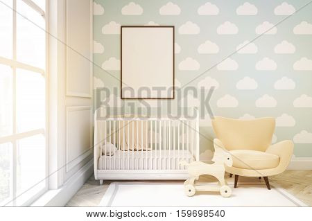 Close Up Of A Child's Room With Cloud Wallpaper On Blue Wall, Toned