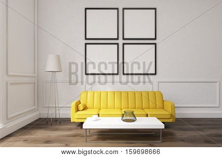 Living Room With Four Posters, Yellow Sofa And A Coffee Table