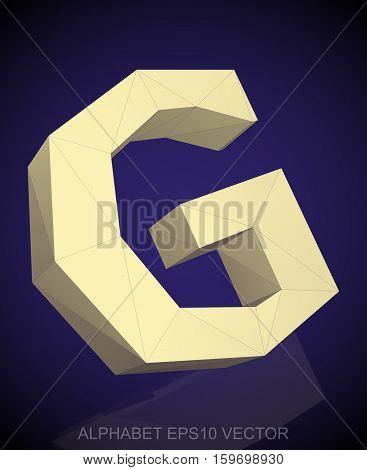 Abstract Yellow 3D polygonal uppercase letter G with reflection. Low poly alphabet collection. EPS 10 vector illustration.