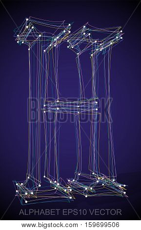 Abstract illustration of a Multicolor sketched uppercase letter H with Transparent Shadow. Hand drawn 3D H for your design. EPS 10 vector illustration.