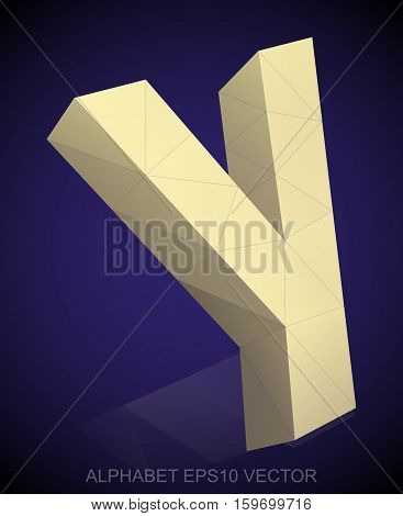 Abstract Yellow 3D polygonal lowercase letter Y with reflection. Low poly alphabet collection. EPS 10 vector illustration.