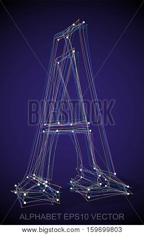 Abstract illustration of a Multicolor sketched uppercase letter A with Transparent Shadow. Hand drawn 3D A for your design. EPS 10 vector illustration.