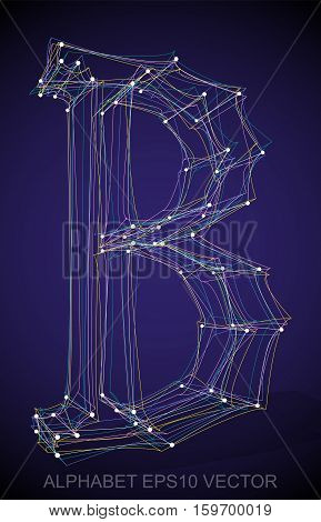 Abstract illustration of a Multicolor sketched uppercase letter B with Transparent Shadow. Hand drawn 3D B for your design. EPS 10 vector illustration.