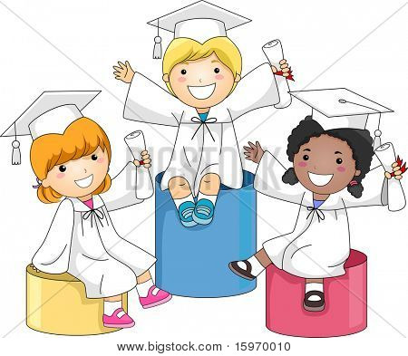 Illustration of Kids Sitting on Boxes of Different Heights