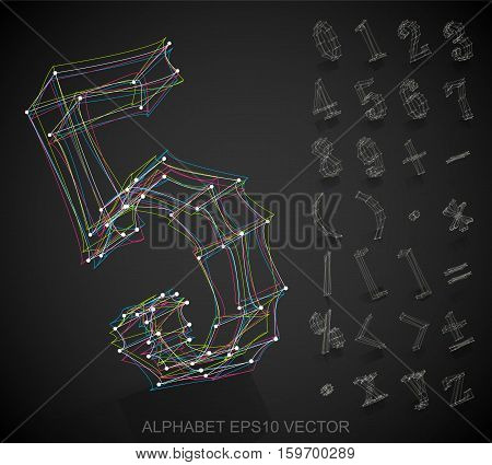 Abstract illustration of a Multicolor sketched Numbers And Mathematical Symbols with Reflection. Set of hand drawn 3D Numbers And Mathematical Symbols for your design. EPS 10 vector illustration.