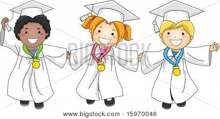 Illustration of Kids Decorated with Medals