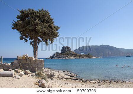 Island Kastri near Greek island of Kos, Kefalos, Greece.