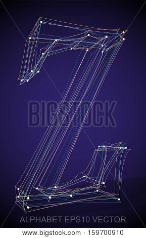 Abstract illustration of a Multicolor sketched uppercase letter Z with Transparent Shadow. Hand drawn 3D Z for your design. EPS 10 vector illustration.
