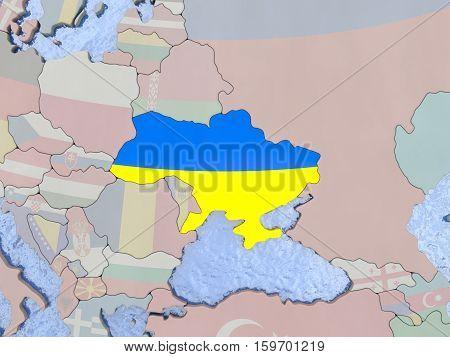 Ukraine With Flag On Globe