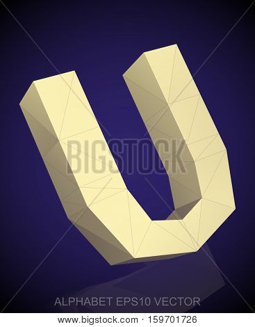Abstract Yellow 3D polygonal uppercase letter U with reflection. Low poly alphabet collection. EPS 10 vector illustration.