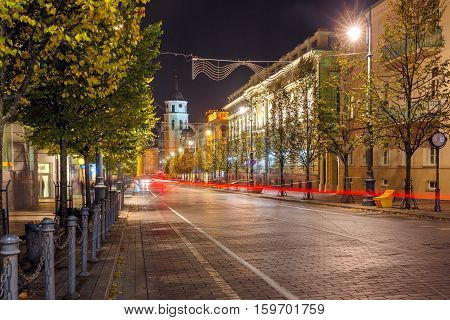 Gediminas prospect and Cathedral Belfry at night, Vilnius, Lithuania, Baltic states.
