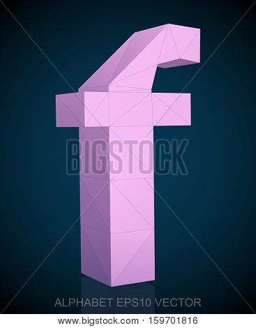 Abstract Pink 3D polygonal lowercase letter F with reflection. Low poly alphabet collection. EPS 10 vector illustration.