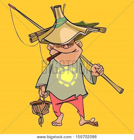 funny cartoon male fisherman in a homemade hat and a fishing rod