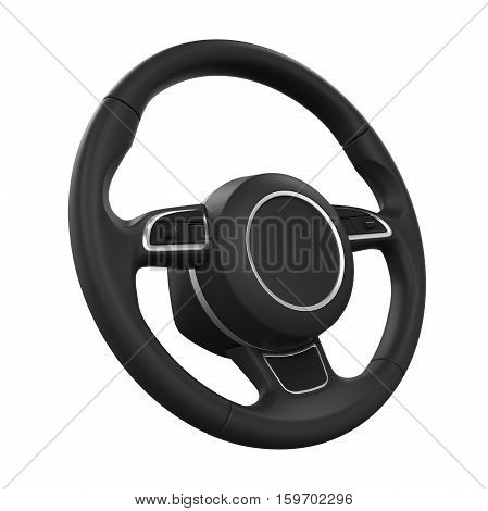 Steering Wheel isolated on white background. 3D render
